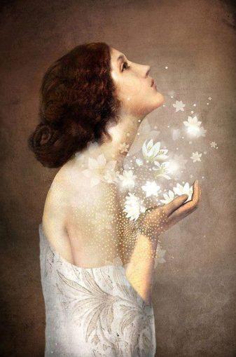 immagine donna con fiori dall'anima